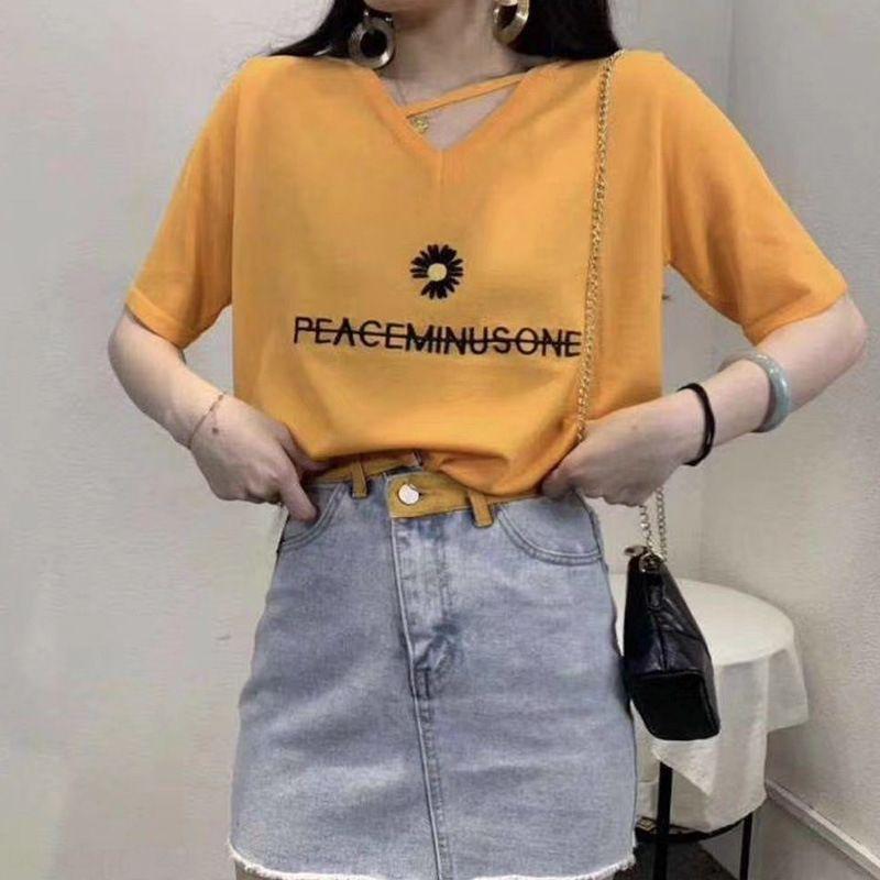 5Bt0v c8vGv Nueva moda de punto de la manga floja fácil de Corea-Match Daisy Summer T-camisa bordada Top de punto estilo jersey corto Top p