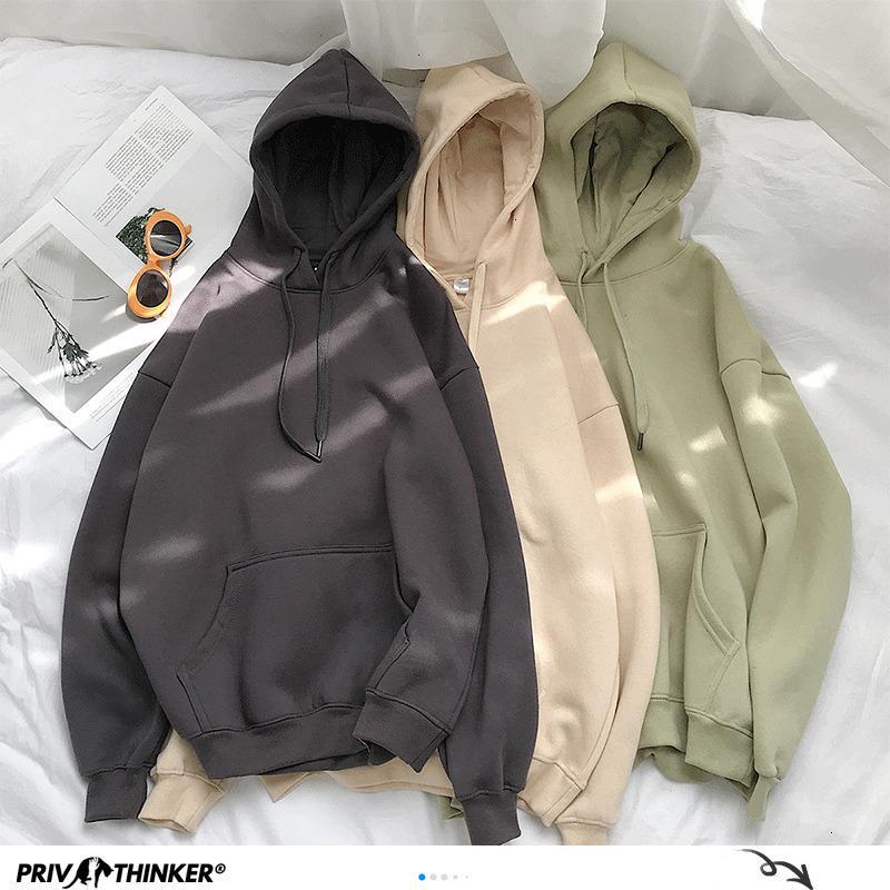 Privathinker Kadının Katı 12 Renkler Kore Kapşonlu Sweatshirt Bayan 2020 Pamuk Kalınlaşmak Sıcak Kapüşonlular Lady Sonbahar Moda MX200812 Tops