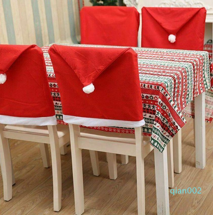 Christmas Chair Covers Red Santa Hat Chair Covers for Dining Room Decor Non-woven Party Christmas Decoration Chair Cover KKA7983