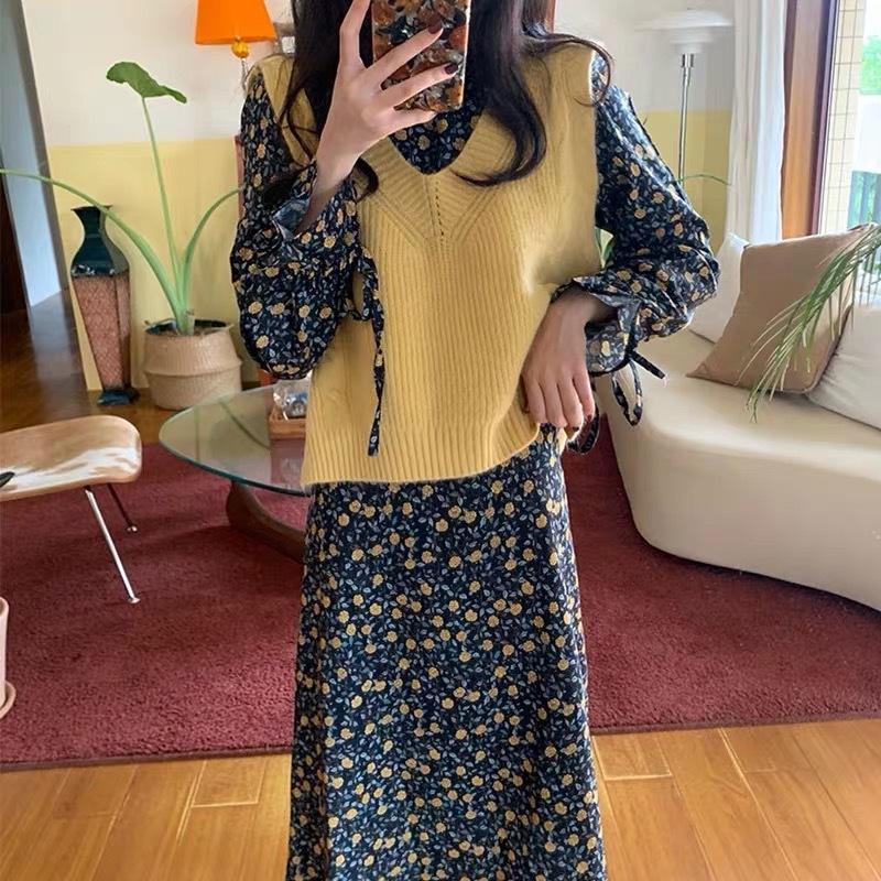 Autunno maglia del vestito 2020 nuovo Internet celebrità giovane vestito floreale grazioso giubbotto maglione vestito a due pezzi per le donne eZcpa