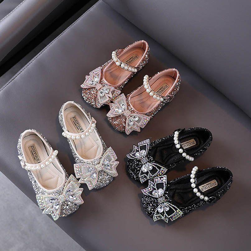 Мода блестки девочек обувь жемчуга принцесса на высоких каблуках обуви бант кристалла платья партии обувь малыша обувь детской обуви в рознице B1796