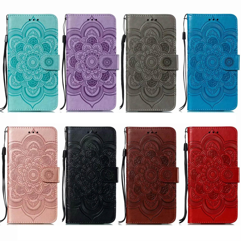 만다라 상표 지갑 가죽 케이스 아이폰 (12) (11) XR XS MAX 7 8 갤럭시 S10 주 20 M51 M01 A21S A31 꽃 흰 독말풀 홀더 레이스 플립 커버