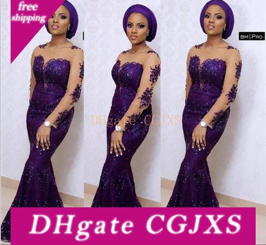 Uva púrpura vestidos de baile africanos ilusión de manga larga de la sirena del cordón de lujo formal vestidos de noche cuello de la joya de la madre de la novia