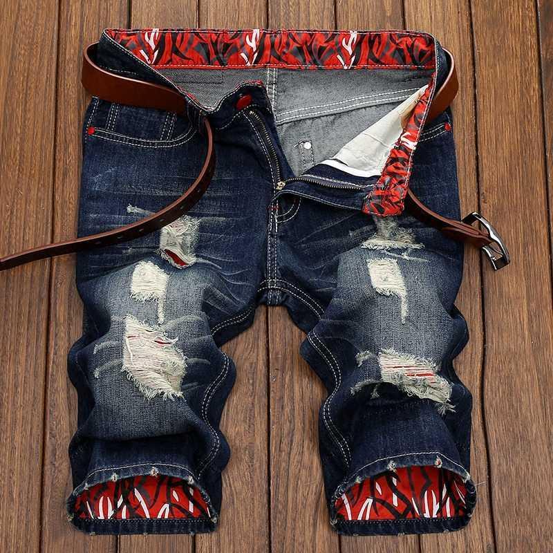 Verão nova moda bolsos com zíper homens comprimento do joelho short jeans maré macho solta Plus Size 28 29 30 31 32 33 34 36 38 40 42