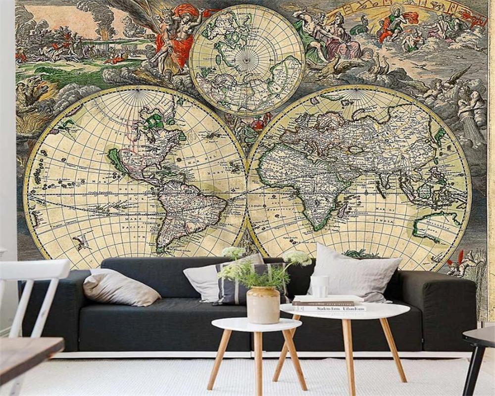 Encargo de la foto del papel pintado 3D náutica antigua del mapa del fondo de la pared Decoración de la sala dormitorio Revestimiento de paredes Fondos de alta definición