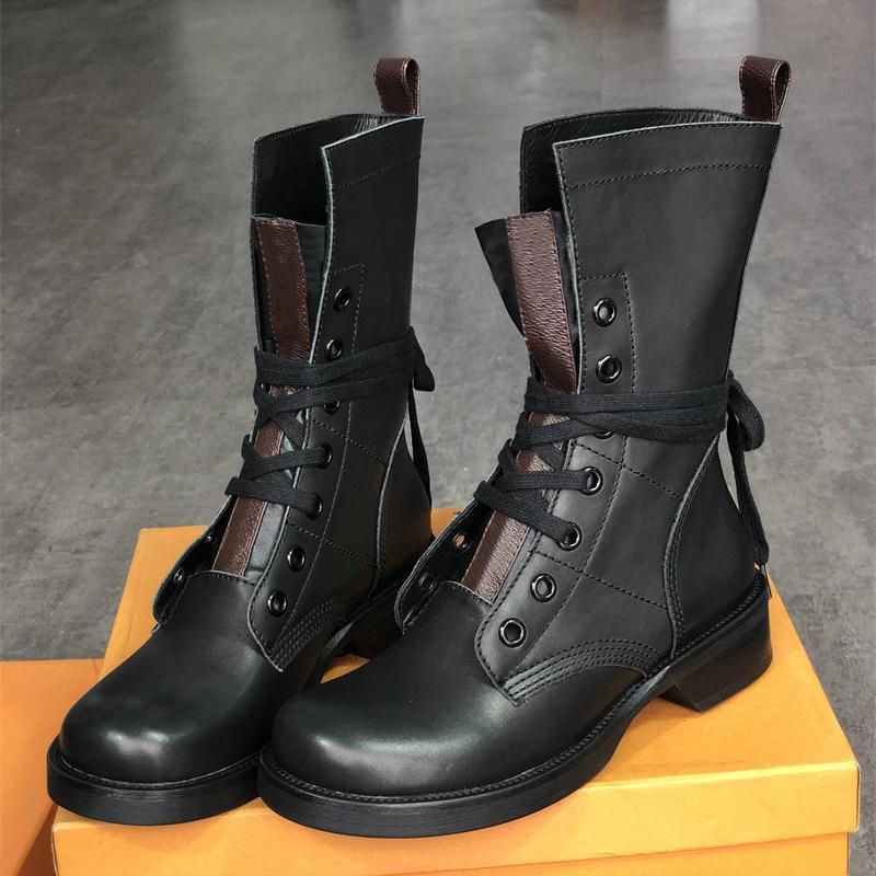 جديد متروبوليس شقة الحارس مكافحة الأحذية النسائية قماش جلد الكاحل أحذية الشتاء مارتن الأحذية الجوارب الدانتيل متابعة جودة أعلى مع مربع