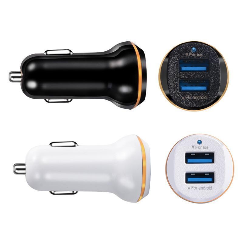 5V 2.1A çift USB bağlantı noktası Otomatik Güç Adaptörü Araç Şarj için Samsung S8 S10 htc gps