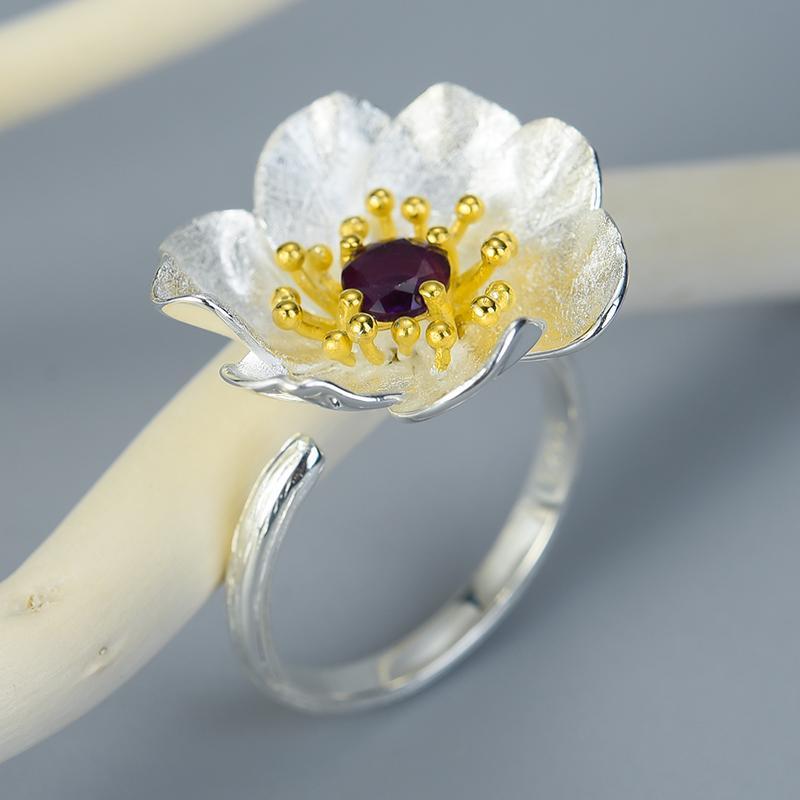 Лотос Fun Real 925 Цветущие анемоны цветок кольца стерлингового серебра Натуральный камень ручной работы конструктора Fine Jewelry для женщин Bijoux
