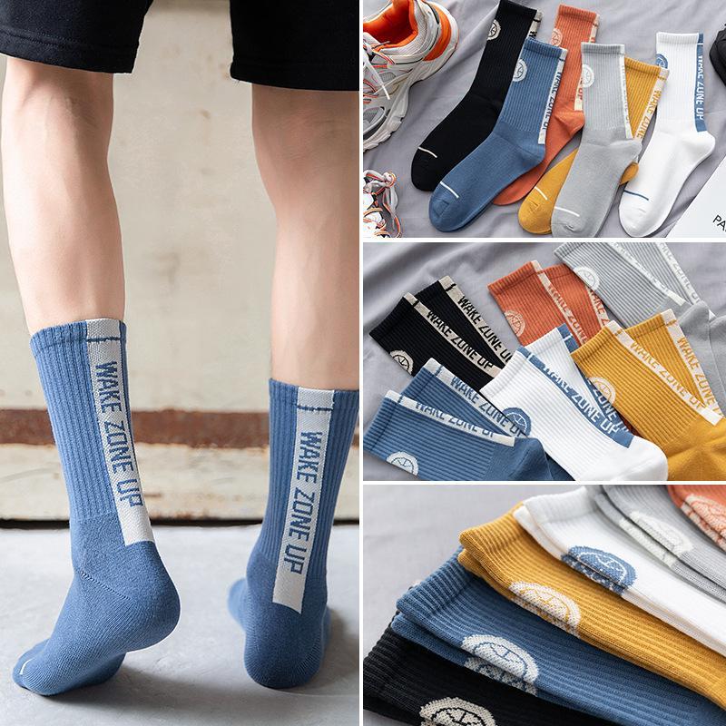 Les nouveaux hommes Boy Impression rue de lettres chaussettes sport doux et respirant Sock Young Fashion long Crew Bas