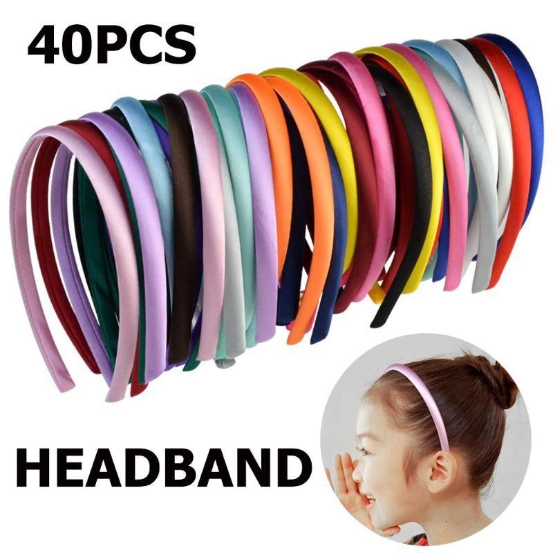 Katı Renk Basit Kafa yönlü Kıllar Başkanı Wrap Aksesuarları L319 ile Kadın Kız Kıllar Hoop 40PCS Saç Bandı Şapkalar