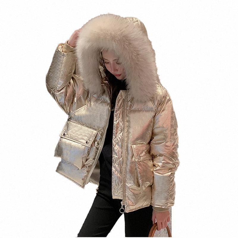 Зима пальто хлопка Женщины 2020 Новый Яркий Короткие Утолщенные с длинными рукавами белая утка вниз Яркий Серебряный Белый хлеб Service Coat E2 MGFL #