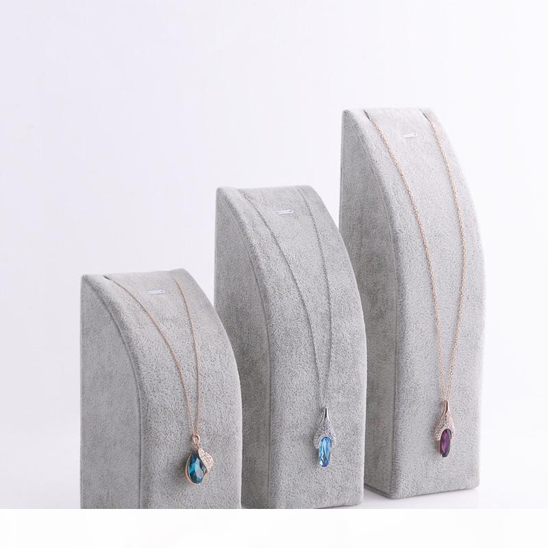 Livraison gratuite Noir velours gris collier pendentif CHAIN stand Bracelet Holder 3 pc set bijoux Affiche d'emballage