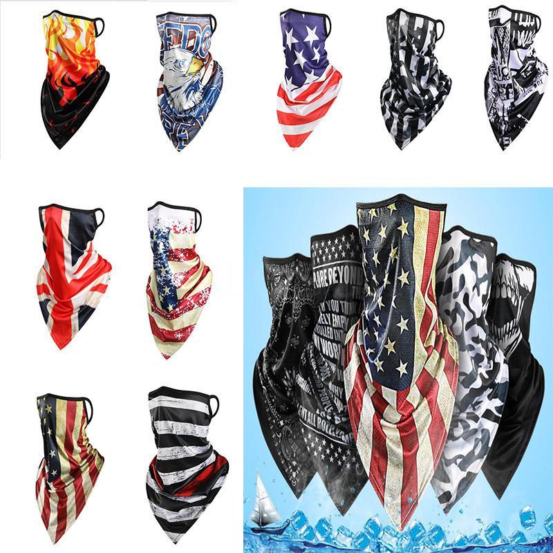 heiß Amerika magischer Schal Sonnenschutz Eis Seide Reitmaske atmungsaktiv gedruckt Dreieck Schal für Männer und Frauen Parteischablonen DA585