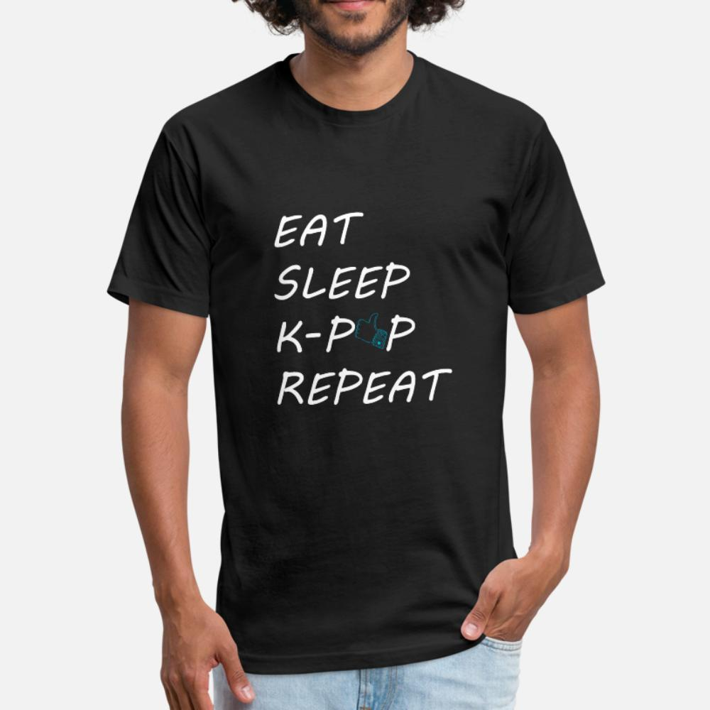 Eat Sleep K Pop Ripet uomini della maglietta del progettista 100% cotone rotonda Collare fredda famosi estate di modo di Lettere Camicia