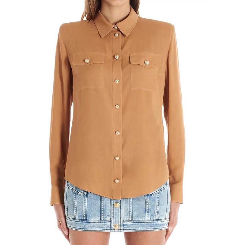 CALLE nuevo de la manera 2020 del diseñador camisa de la blusa de las mujeres de manga larga León Botón bolsillos de la blusa top de la camisa