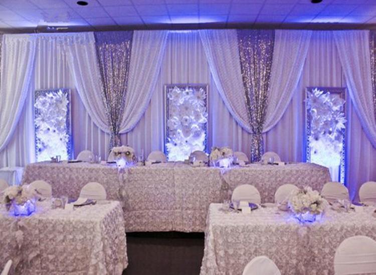 10ft x 20ft Toile de fond de mariage blanc avec brillant argent Swag drapé de mariage et de la décoration rideau 1 ordre