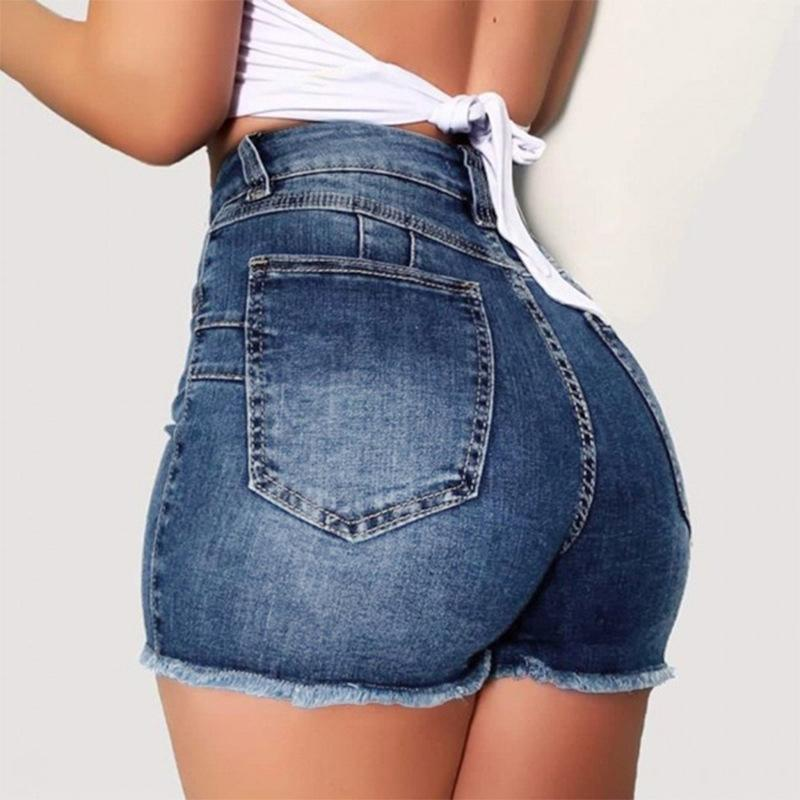 Ripped Trou Femmes taille haute en denim Shorts stretch mince hanche paquet Jeans Shorts Summer Femme Bodycon Short Pants Plus Size 3XL