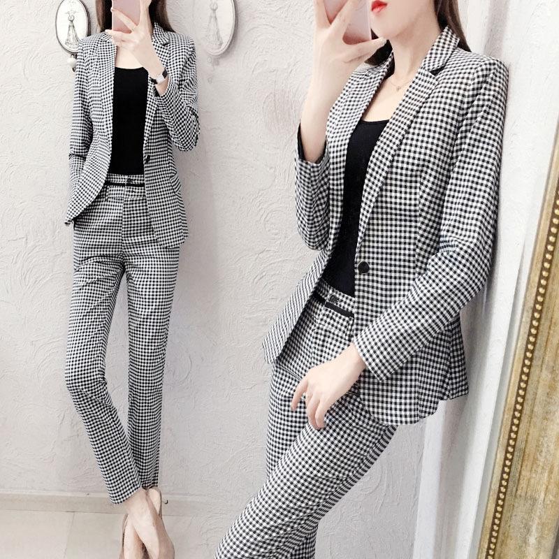 K4ThW Kleine Frauen-Satz dreiteiliger Anzug für Frauen 2020 Frühling und Herbst der neuen koreanischen Stil Persönlichkeit des öffentlichen Lebens Temperament beiläufige Art und Weise Plaidklage t