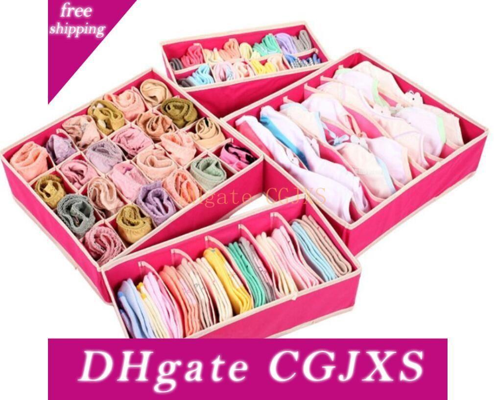 4PCS Underwear Divider Closet Organizer Storage Boxes Bra Ties Socks Container