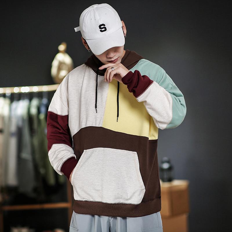 Случайные мужчины пэчворк плед хип-хоп толстовки толстовки уличная одежда один кусок бренда черный серый кг-121
