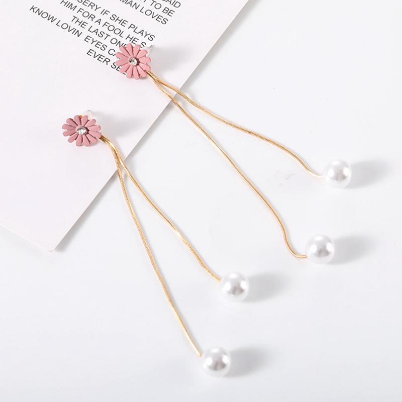 Flor-de-rosa coreano bowknot Brincos de cristal simulado Pérola borla longo Dangle For Women Jóias fêmea brincos