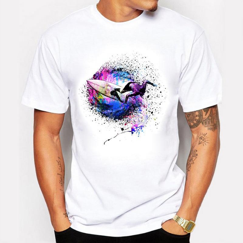 Erkekler Eşsiz Tasarım Giyim için BLWHSA Yaz Moda Erkekler Tişörtler Baskı Sörfçü Renkler Kısa Kollu T Shirt