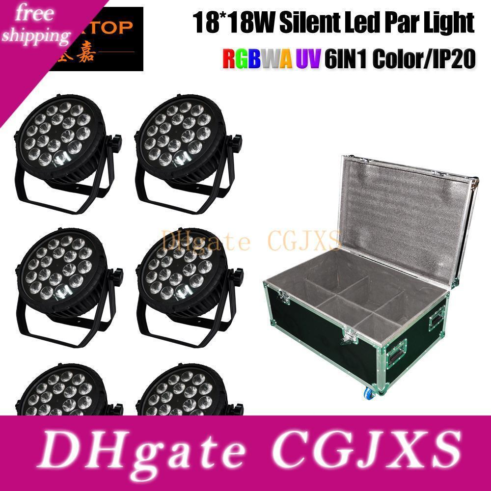 6in1 Estrada Caso embalagem 18x18w Cans Rbgaw Violet 6 cores silencioso Estágio LED PAR 4 botão LCD Display sem ruído Apoio de suspensão Braçadeira