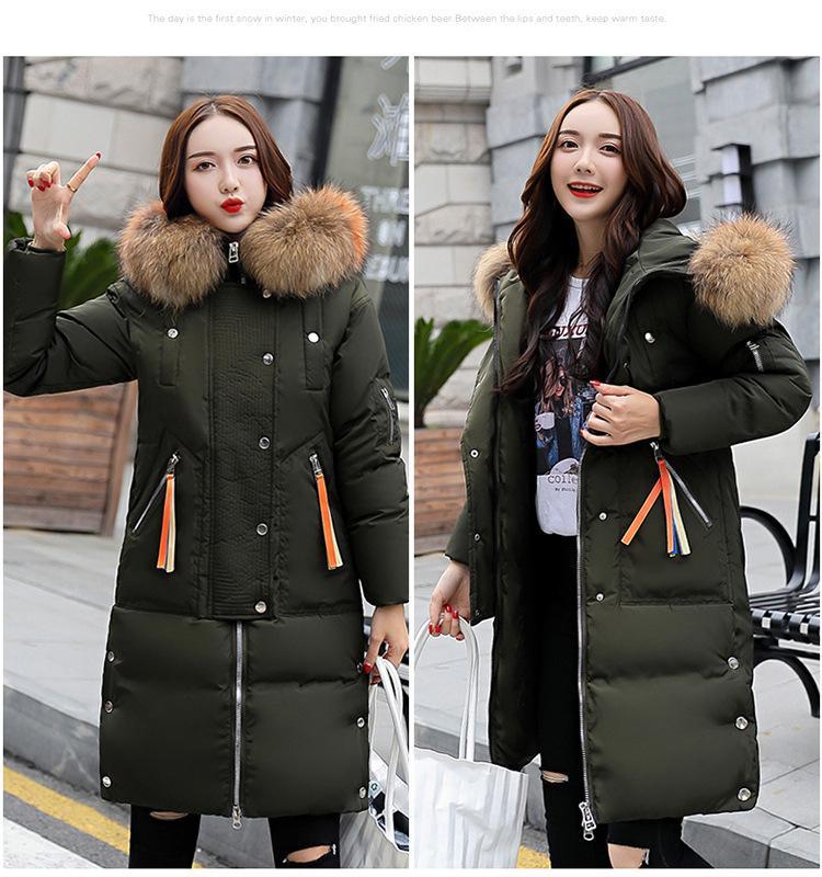 Épaissi Manteau parka pour les femmes avec grand manteaux de fourrure d'hiver Brochage Slim long coton dames Parka Down Jacket Pardessus