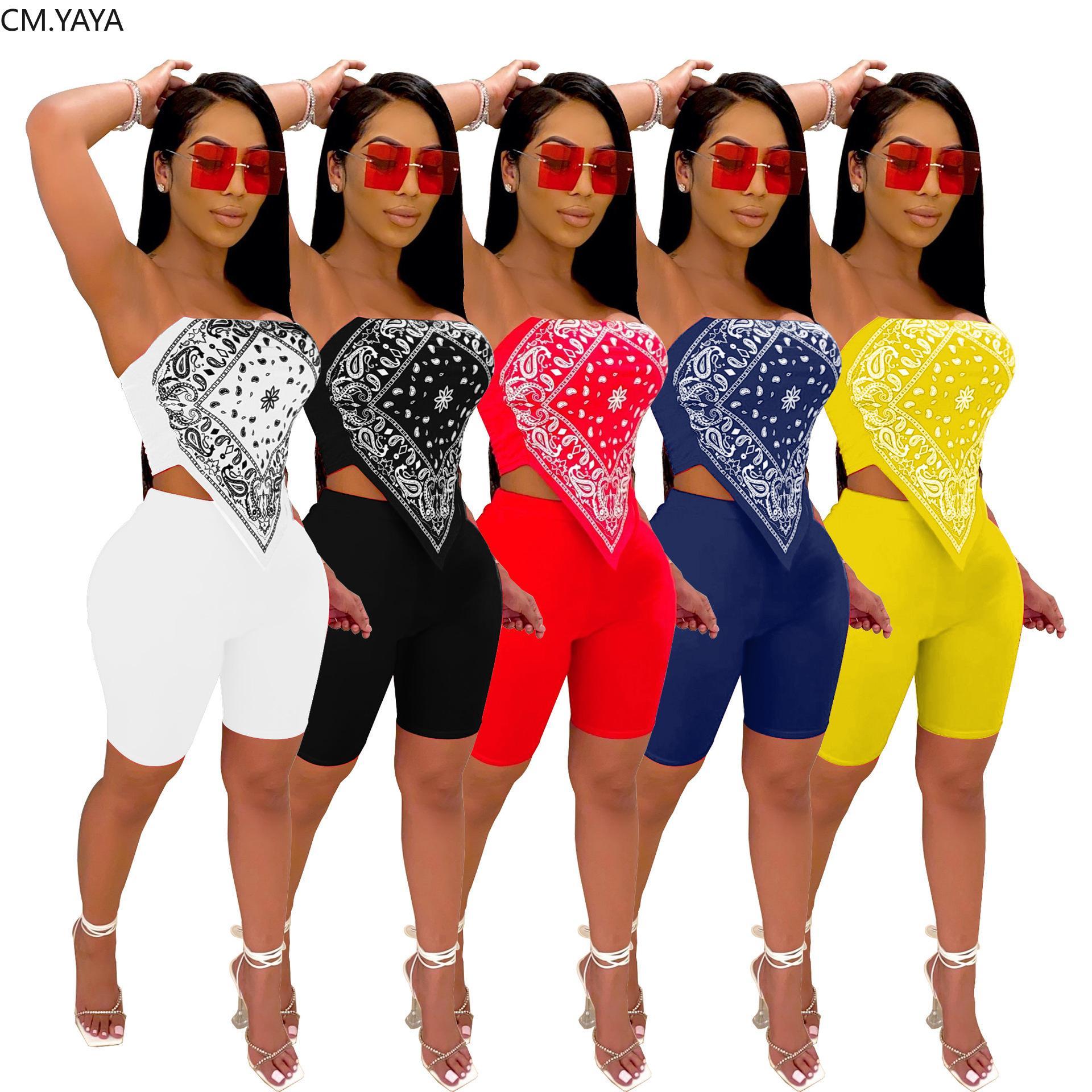 CM.YAYA Frauen Bandana Drucken Bauchband Mini Crop Tops knielangen Shorts Jogger Hosenanzug Zweiteiler Sport Anzug Outfits