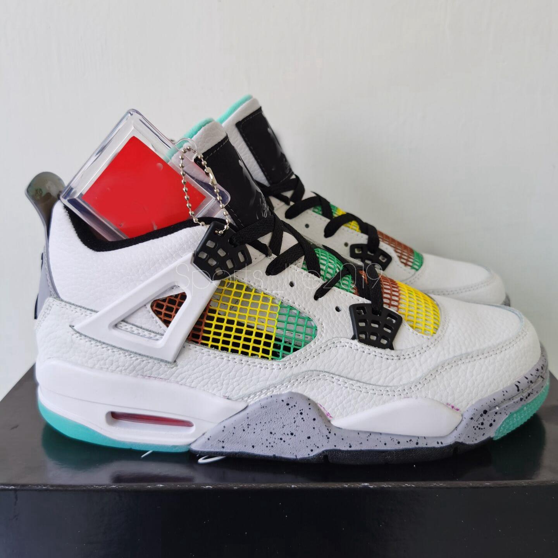 2020 Nuova Rasta 4 4S Scarpe da basket per uomo Carnevale Lucido Verde Verde Pelle Bianco Strusco Sneakers Canestri Scarpe da ginnastica Zapatos Chaussures Size 13