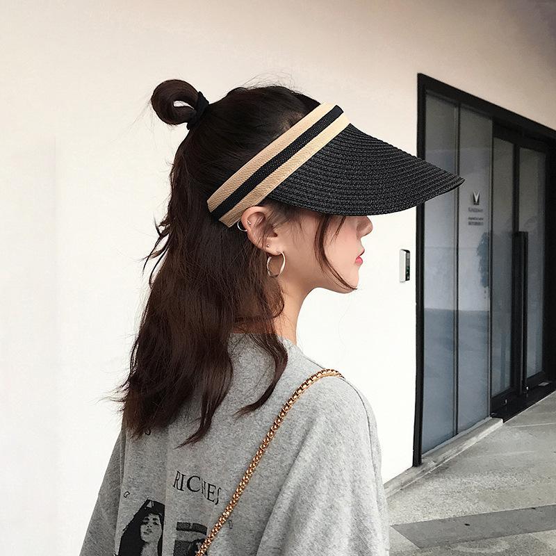 Cappello delle donne superiore vuoto dell'arco tessuto di paglia di estate di corsa esterna selvaggio protezione solare del cappello di Sun Beach protezione solare