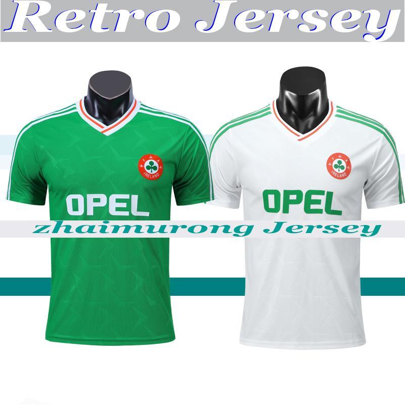 1990 1992 أيرلندا الرجعية لكرة القدم جيرسي خمر كرة القدم قميص جمهورية أيرلندا المنتخب الوطني الفانيلة 90 92 كأس كأس العالم الأخضر الأبيض