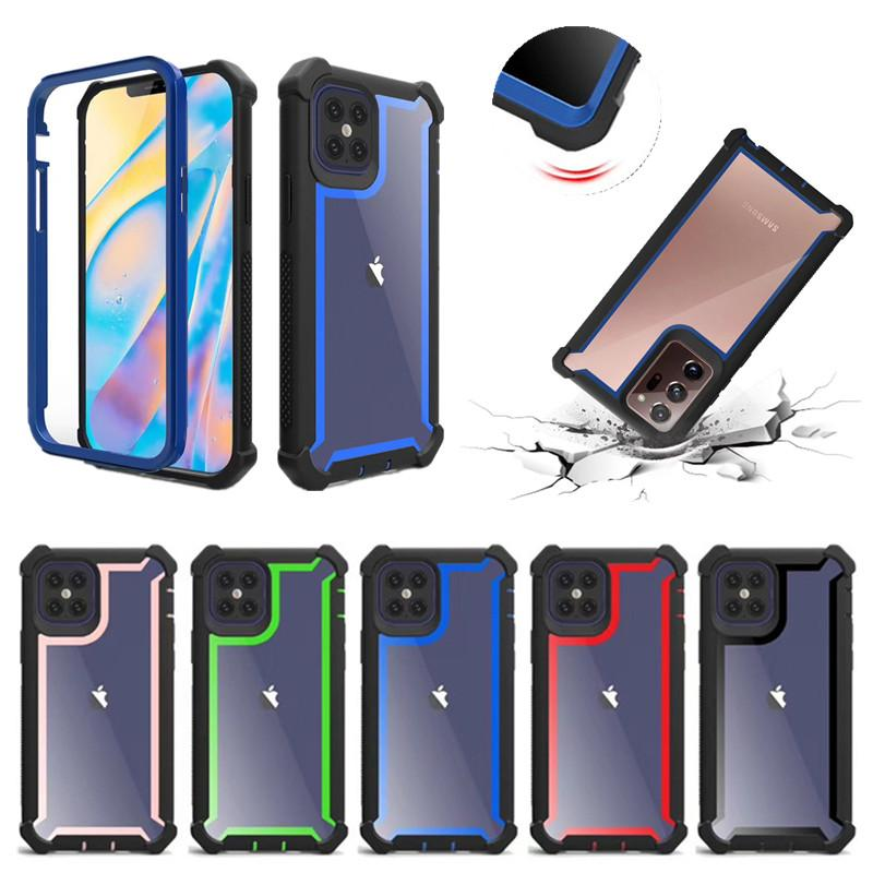 A prueba de golpes Armadura para Iphone 12 7 8 6 Plus 6S 5S SE 2020 iPhone 11 Pro Max TPU PC 2 en 1 duro acrílico transparente Espacio contraportada