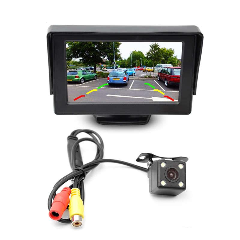 2em1 Estacionamento Kit Sistema 4.3 InchTft LCD a cores Retrovisor Display Monitor + impermeável Invertendo backup Vista Traseira carro DVR Camera