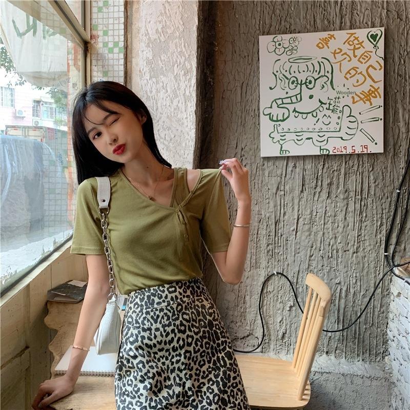 hH4d9 2020 Yaz Kore tarzı V-neckT-shirt ayakkabı slim fit tişört kadın köprücük tasarımı düz renk üst kısa kollu