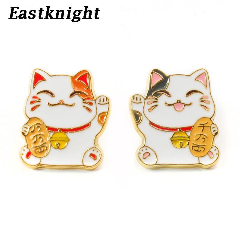 K356 émail Lucky Cat mignon Métal Pins et Broches pour épinglette Sacs à dos Badge Cadeaux cool 1pcs