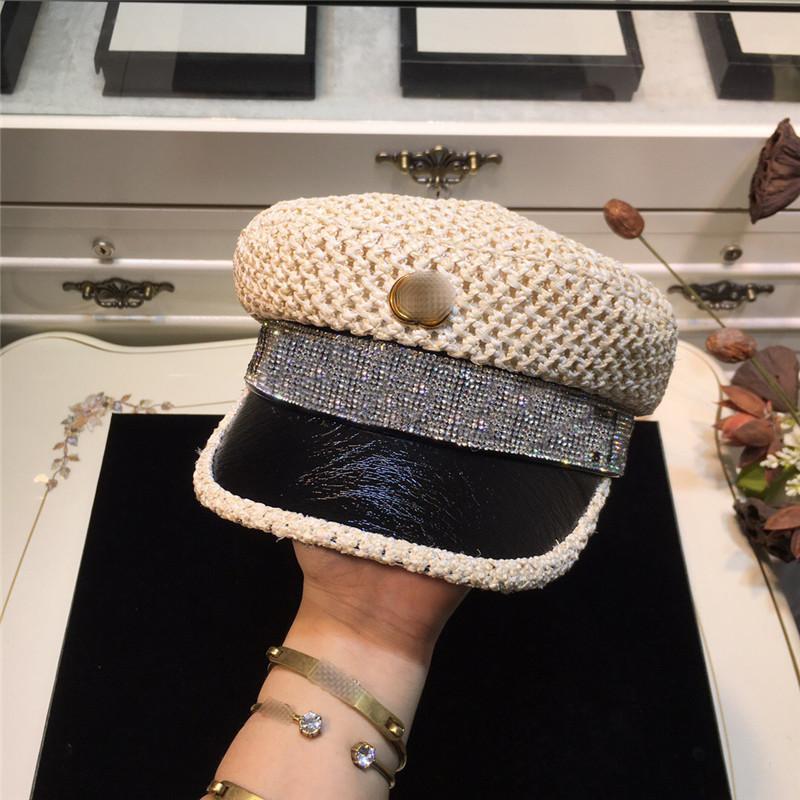 Marque de paille militaire Cap Brillant diamant Caps Designer Femmes Rhinstone lettres Chapeaux luxe Respirant Chapeaux Casual Casquette militaire