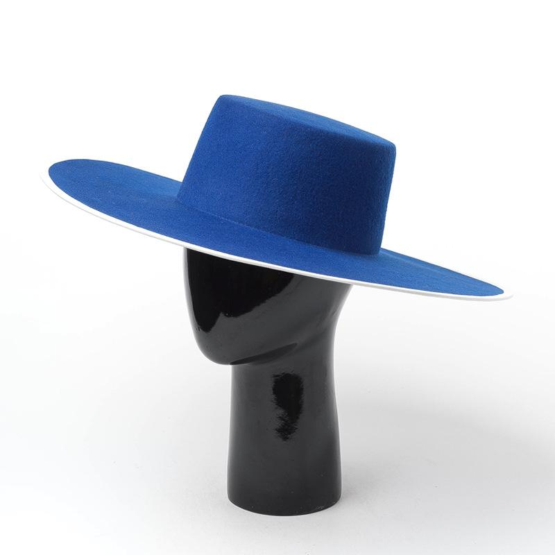Europe and America Autumn and winter new simple fashion light body big brim woolen top hat travel shopping wool felt hat