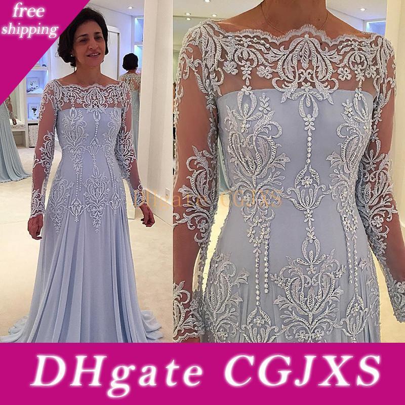Elegante mangas compridas Chiffon Mãe da noiva do noivo vestidos dos ombros Lace Bordados Beaded Comprimento Andar Elegante mãe Vestidos