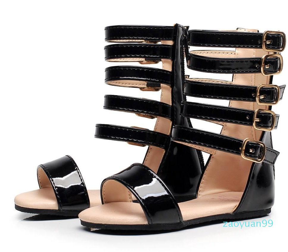 Sıcak Satış-Bebek Littlesummer Kızlar Gladyatör Çocuk Ayakkabıları Roman Yaz Ayakkabı Çocuk Deri Yüksek Topuklar Açık Burun Küçük Kız Moda Sandalet