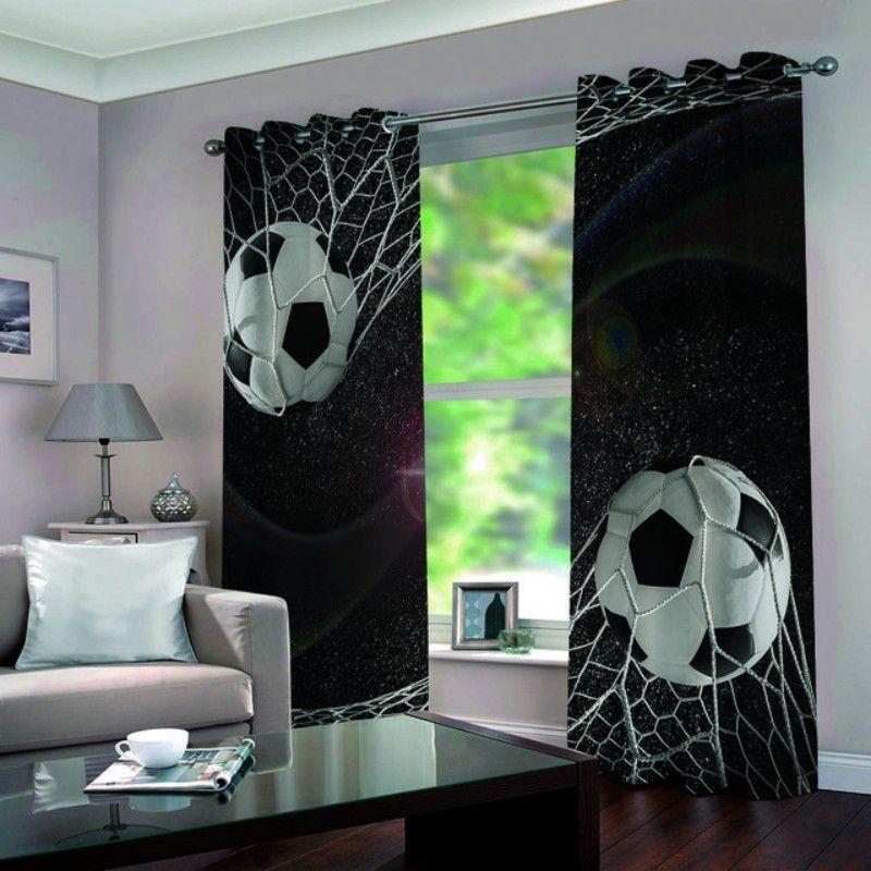 Karikatür Futbol Blackout Perdeler için Pencere Tedavi Panjur bitirdi Perdeler Pencere Karartma Perdeler İçin Salon Yatak odası