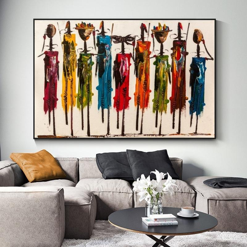 Abstract African Woman Paintings Oil Paints on Canvas Poster and Stampes Art Parete ritratto immagini per soggiorno Decor No fotogramma