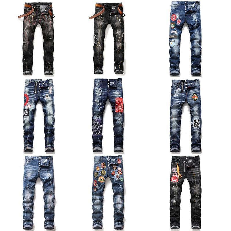Мужская конструктор Проблемные рваные джинсы тощий моды люкс итальянский Тонкий мотоциклов Moto Байкер D2 Мужские брюки джинсовые Hip Hop Man Брюки