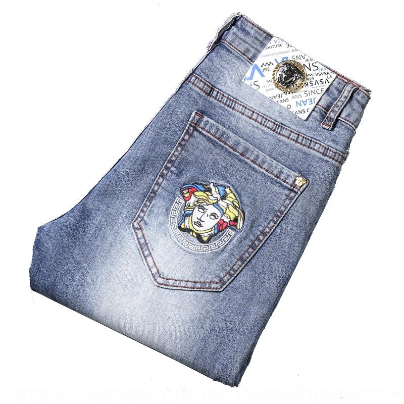 Mei Dusha вышитые брюки хлопка синие джинсы bmAd2 WKCmM Мужские джинсы стрейч и легкие брюки Вышитые Приталенный пят ультрамодные