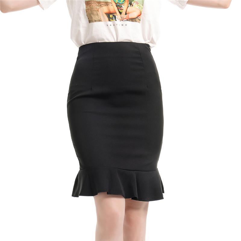 Röcke Sommer Mode Frauen Hohe Taille Meerjungfrau Rock Feste Farbe Große Größe Knielange Trompete Dame Büro Wear