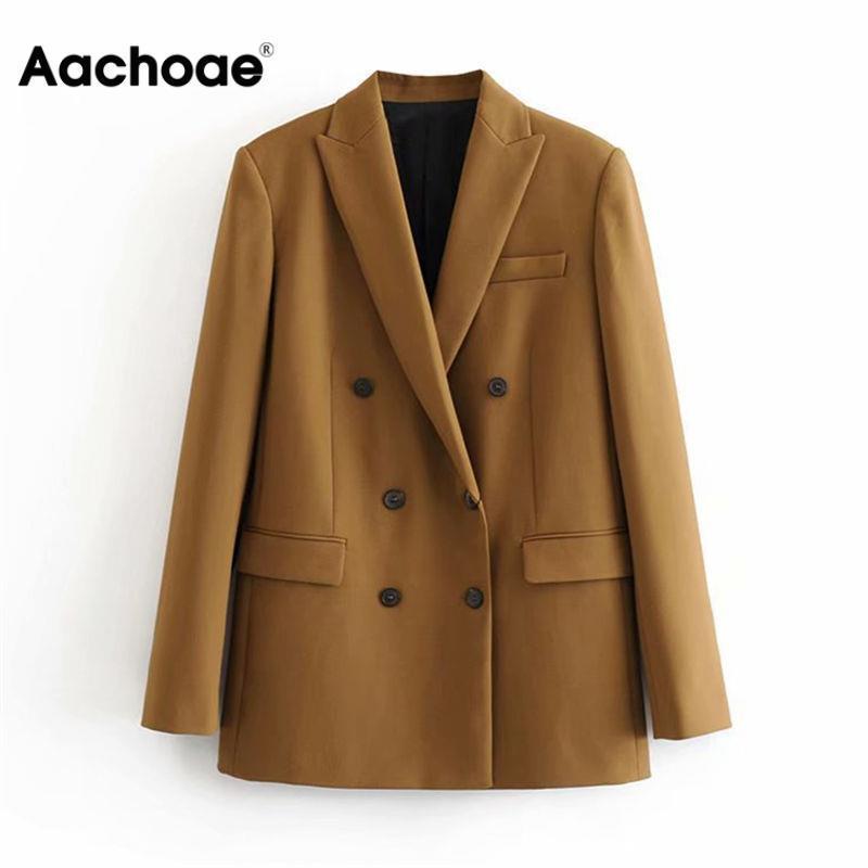 Aachoae المرأة الأنيقة كم طويل مزدوج اعتلى السترة سترة عادية الصلبة أنثى أنيقة مكتب سيدة البدلة السترة أبلى معطف T200818