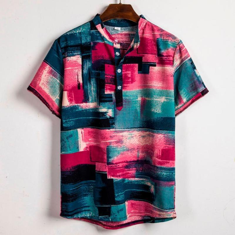 Stile etnico Tie Estate Hawaii shirt retrò geometrica Stampato uomo Dye mezza manica CasualTurn giù la camicia di stampa camicetta