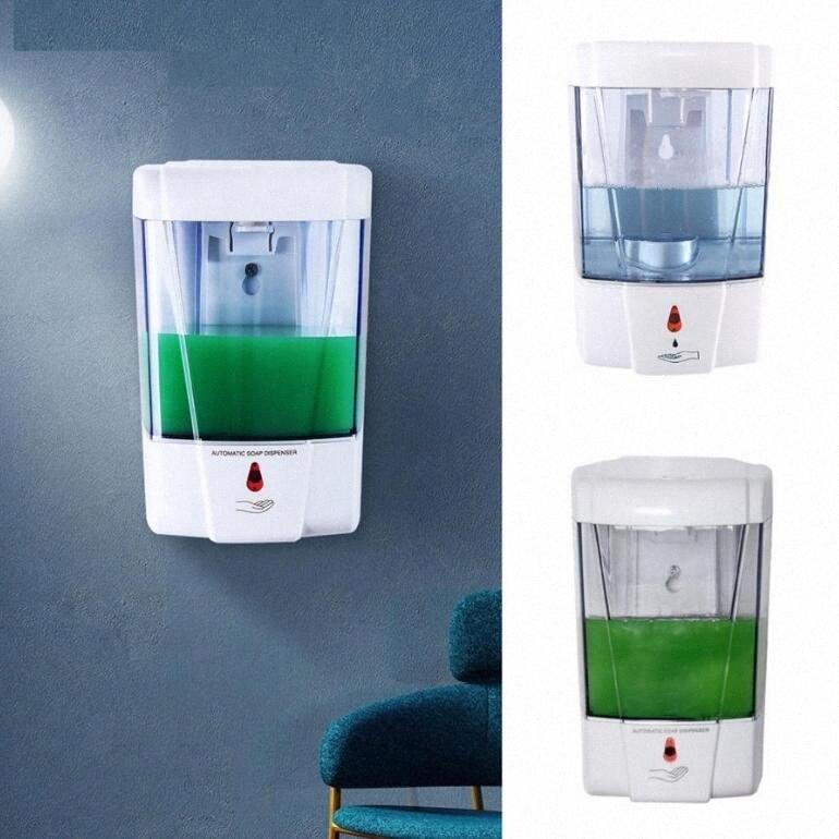 700ML Wall Mounted Automatic Soap Dispenser Hands Sanitizer Shampoo Dispenser Kitchen Bathroom IR Sensor Liquid Soap Dispensers LJJO82 21gq#