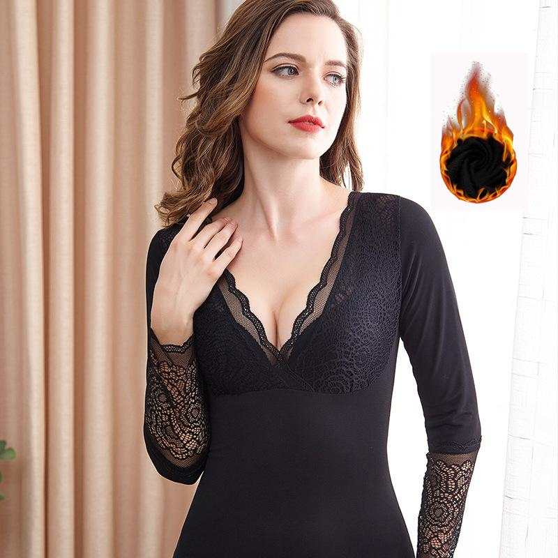 Women Winter Soft Thermal Underwear Long Sleeve Basic Layer Thick Fleece Lined Tops Lace V-Neck Plus Size Sleepwear Warm Shirt T200819