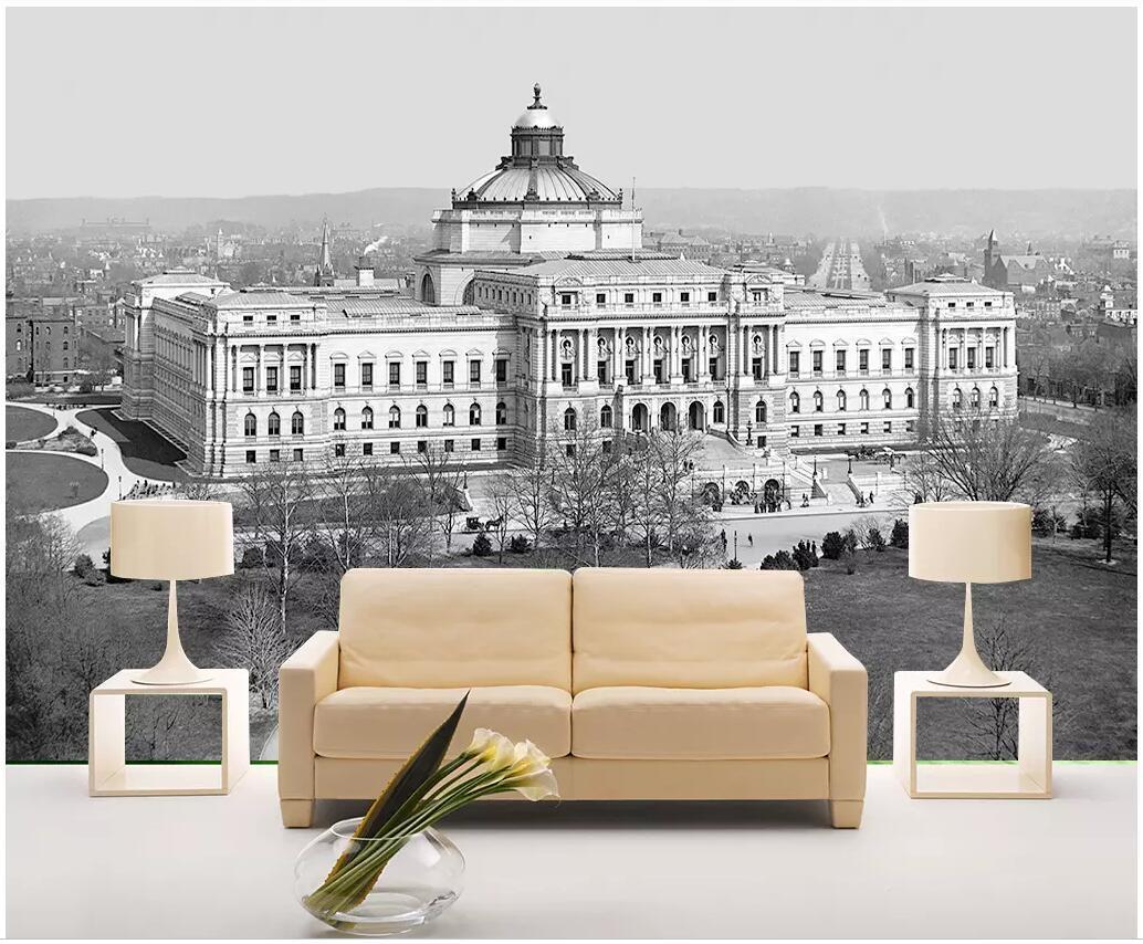 WDBH photo personnalisé 3d papier peint bâtiment noir et blanc palais décor à la maison paysage salon peintures murales 3d papier peint pour les murs 3 d